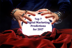 A crystal ball with the lettering Top 7 Digital Marketing Predictions of 2016 within